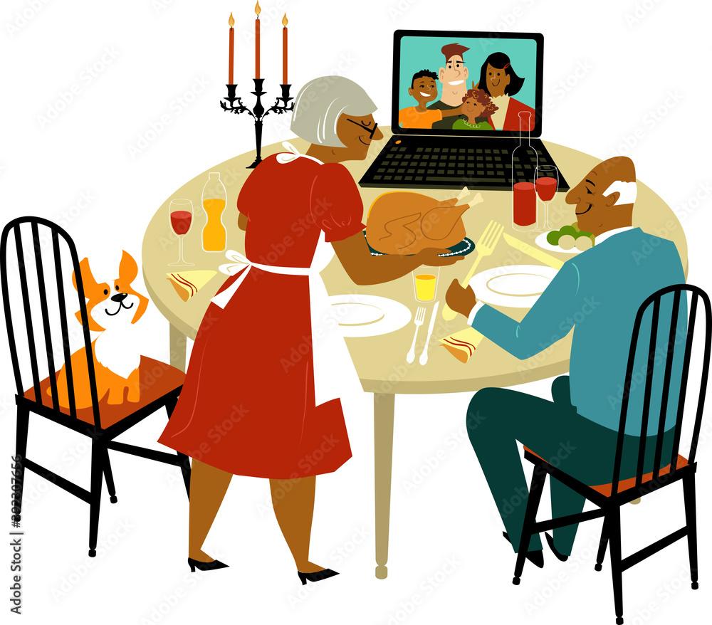 Fototapeta Elderly black couple having a holiday turkey dinner with their children and grandchildren joying them via video chat on a computer, EPS 8 vector illustration