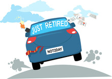 Newly Retired Person Driving Away In A Decorated Car With Champagne And Throwing Business Paper Out, EPS 8 Vector Illustration