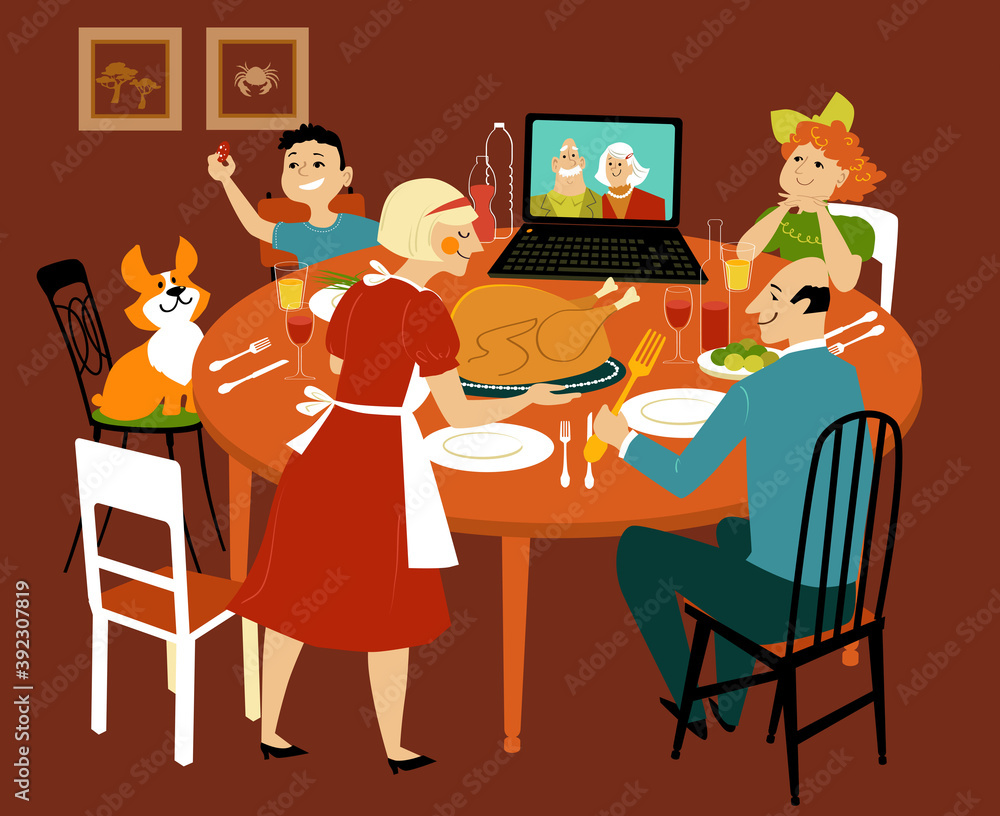 Fototapeta Family having a holiday turkey dinner with grandparents participating via video chat on the computer, EPS 8 vector illustration