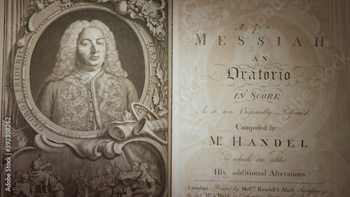 Fotografie, Tablou Handel's Messiah 1st edition printing from the 1700's, panning over the book