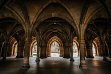 Arched Hallway Near Courtyard