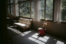 Interior Of Old House With Large Windows