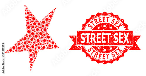 Fotografie, Obraz Grunge Street Sex Seal and Covid-2019 Mosaic Asymmetrical Star