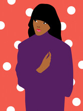 Dark Skin Woman On A Polka Dot...