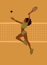 Girl Tennis Player At The Time Of Striking A Tennis Ball With A Tennis Racket In A Jump.
