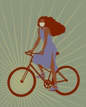 Girl In A Medical Mask Rides A Bike