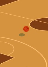 Basketball Ball On An Empty Basketball Court