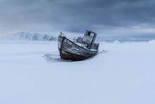 A Frozen Boat In The Arctic