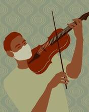 Violinist In Medical Mask.