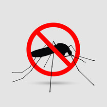 Mosquito Logo Template, Free Mosquito Sign With Red Circle, Mosquito Stop Logo Graphic Design.