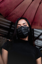 Young Woman Protected With Mask Black