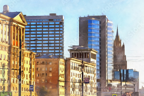 Vintage building at Novinskiy Boulevard colorful painting looks like picture, Mo Canvas