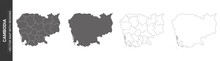 Set Of 4 Political Maps Of Cambodia With Regions Isolated On White Background
