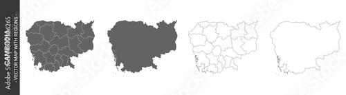 Foto set of 4 political maps of Cambodia with regions isolated on white background