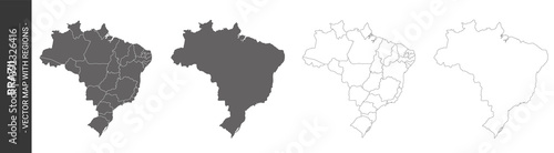 set of 4 political maps of Brazil with regions isolated on white background