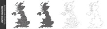 Set Of 4 Political Maps Of United Kingdom With Regions Isolated On White Background