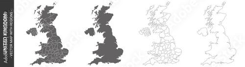 Fotografia set of 4 political maps of United Kingdom with regions isolated on white backgro