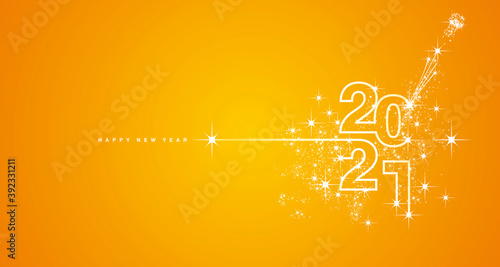 New Year 2021 line design typography firework champagne white orange yellow background vector