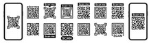 Qr Code Set.QR Code Scan For Smartphone.Scan Bar Label, Qr Code And Industrial Barcode.Template Scan Me Qr Code For Smartphone. Barcodes. Isolated Vector Icons Set. Vector Illustration.