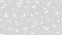 Elegant Seamless Pattern With Plants And Herbs. Hand Drawn Vector Illustration.