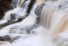 Landscape Of Manido Falls Captured With Motion Blur, Porcupine Mountains Wilderness State Park, Michigan's Upper Peninsula, USA