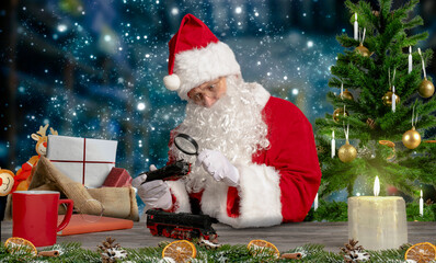 santa checks toys for quality in his workshop at the north pole