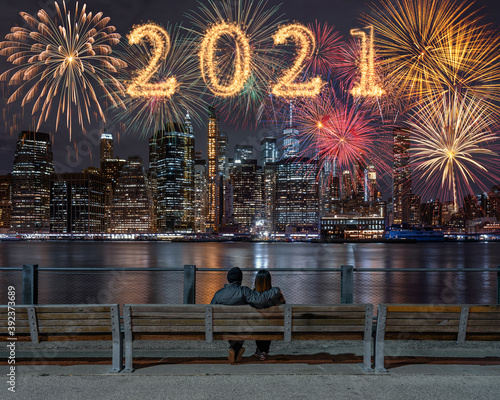 2021 written with Sparkle firework with multicolor of fireworks on back side cou Wallpaper Mural