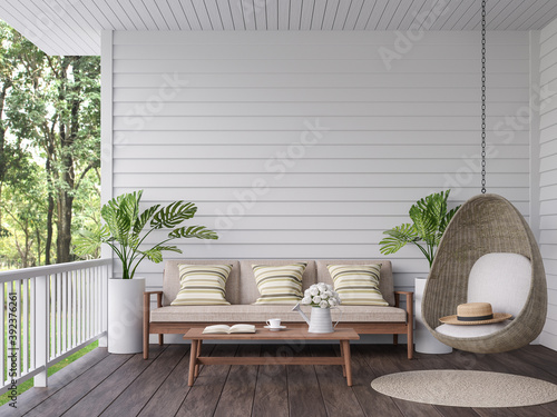 Obraz Vintage terrace with nature view 3d render, There are old wooden floor and white plank wall,decorate with wood,fabric and rattan furniture,overlooking to the green garden background - fototapety do salonu