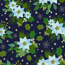 Sky Blue Poinsettia,  Bouquets And Green Leaves And Gold Berries And Snowflakes, Christmas Vector Illustration, With Blue Background Seamless Pattern
