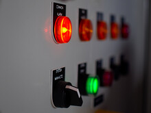 Close Up Shot Of Power Panel Alarm Button Visual Light