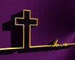Christianity concept illustration. Cross and love word. 3D rendering