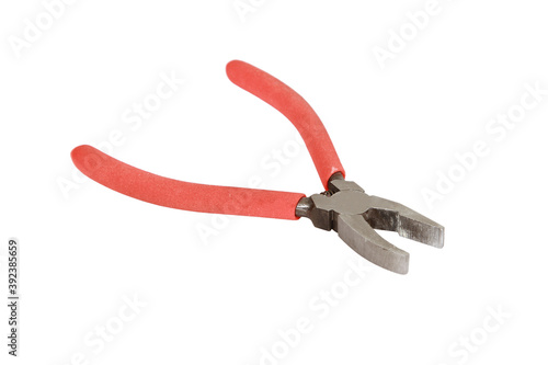 Isolated shot of a red plier on white background Canvas Print
