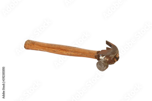 Cuadros en Lienzo Rusty old wooden hammer isolated on a white background