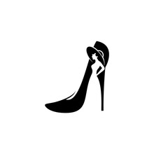 Simple Modern Lady Stiletto With Negative Space Lady Wearing A Hat Vector Icon