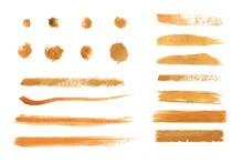 Golden Color Watercolor Brush Vector Set,