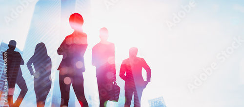 Abstract image of many business people together in group on background of city view with office building showing partnership success of business deal Fototapet