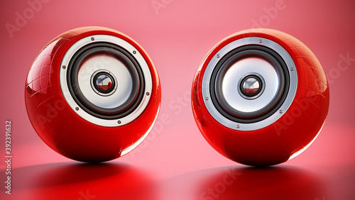 Generic smart speakers standing on red background Wallpaper Mural
