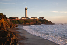 SAN MATEO, UNITED STATES - Dec 30, 2012: Pigeon Point Lighthouse In California