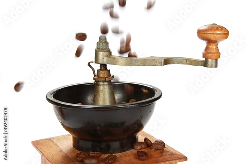 Selective focus shot of coffee beans on a grinder Canvas