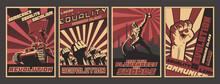 Retro Soviet Revolution Propaganda Style Posters, Socialism And Working Class Illustrations