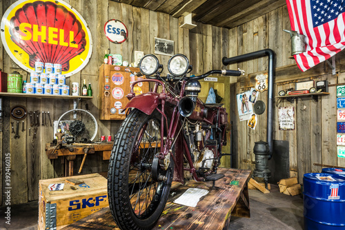 SINSHEIM, GERMANY - APRIL 8, 2018: Mabeco 750 Motorcycle in an old garage in the auto and technic museum Sinsheim