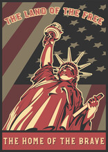 Statue Of Liberty, USA Banner Background, National Patriotic Poster