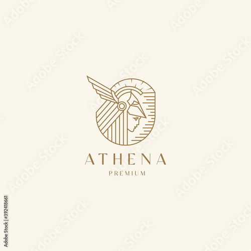 Cuadros en Lienzo Goddess greek athena line art logo icon design template