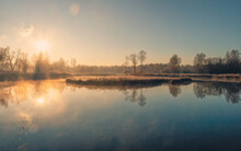 Sunny Frosty Morning On A Fogg...
