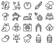 Thanksgiving Related Line Vector Icon Set 4