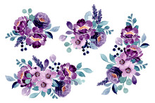 Purple Floral Bouquet Collection With Watercolor