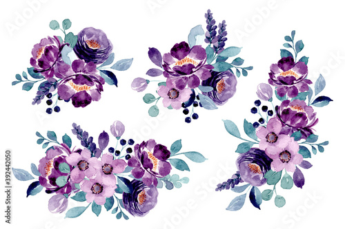 Purple floral bouquet collection with watercolor Wallpaper Mural