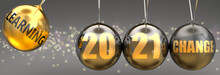 Learning As A Driving Force Of Change In The New Year 2021 - Pictured As A Swinging Sphere With Phrase Learning Giving Momentum To 2021 That Leads To A Change, 3d Illustration