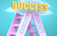 Curiosity Ladder That Leads To Success High In The Sky, To Symbolize That Curiosity Is A Very Important Factor In Reaching Success In Life And Business., 3d Illustration