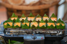 Egg Grill In The Banana Leaf Northern Thailand Food.